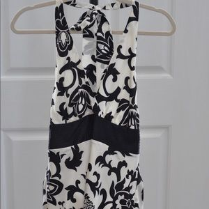 Black and white silky halter top